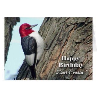 Birthday for Cousin, Red-headed Woodpecker Card