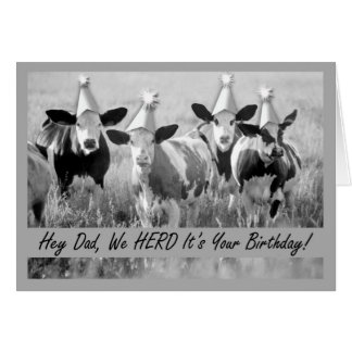 Birthday for Dad Funny Cows Card