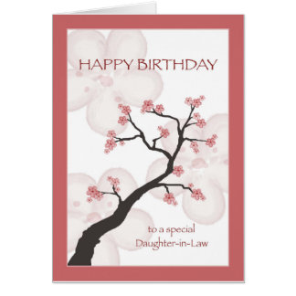 Birthday for Daughter-in-law, Chinese Blossom Tree Greeting Card