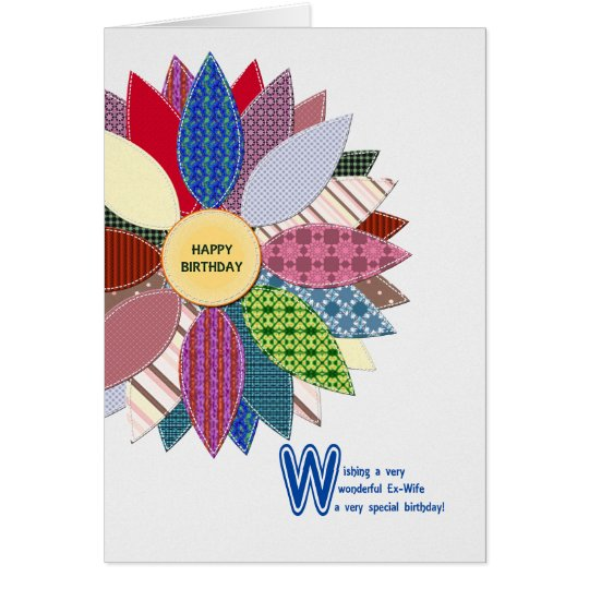 Birthday for ex-wife, stitched flower card