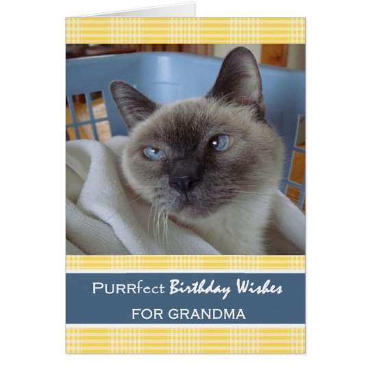 Birthday for Grandma, Cat in Laundry Basket Card