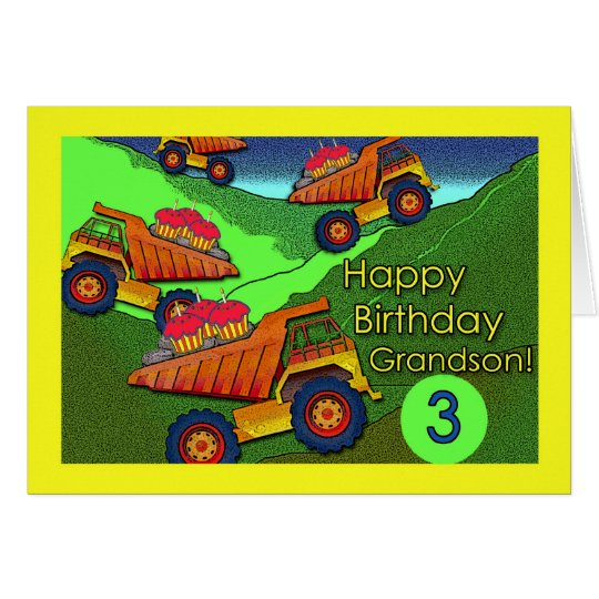 Birthday for Grandson, Dump Trucks and Cupcakes Card