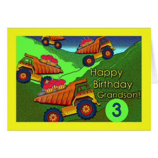 Birthday for Grandson, Dump Trucks and Cupcakes Greeting Card