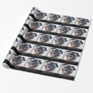 Birthday, for John, cute pug, gift wrap. Wrapping Paper