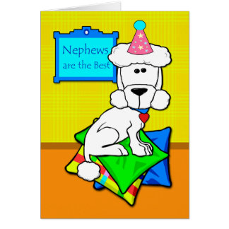 Birthday for Nephew, White Poodle on Pillows Greeting Card