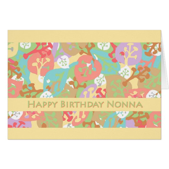 Birthday for Nonna, Colourful Leaves on Yellow Card