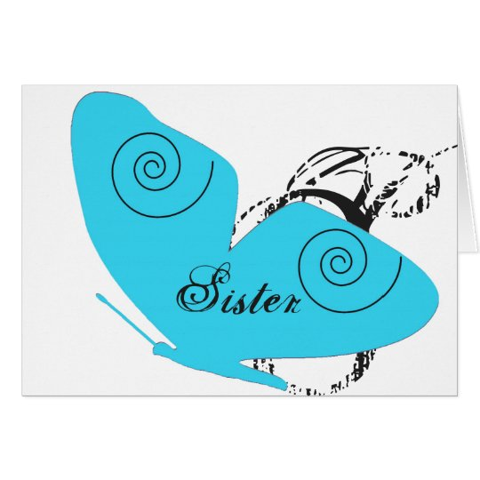 Birthday for sister, big, light blue butterfly. card