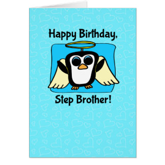 Birthday for Step Brother - Little Angel Penguin Greeting Card