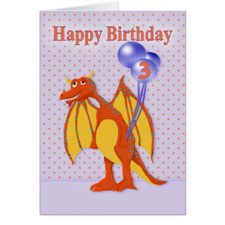 Birthday for Three Year Old with Cartoon Dragon Greeting Card