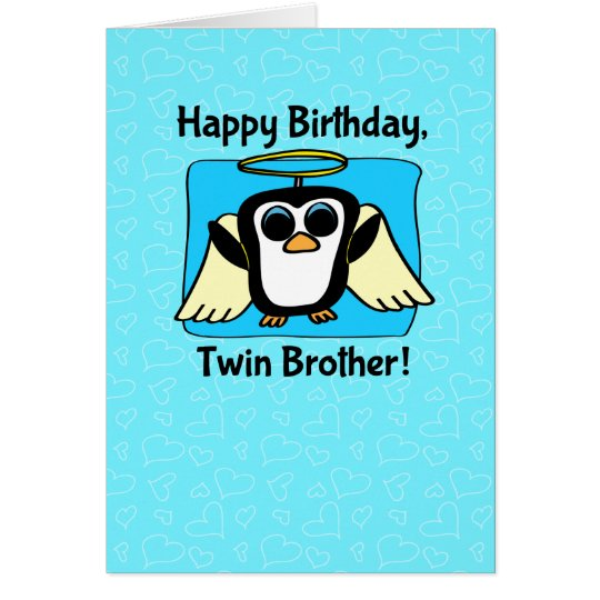 Birthday for Twin Brother - Little Angel Penguin