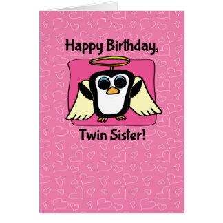 Birthday for Twin Sister - Little Angel Penguin Greeting Card
