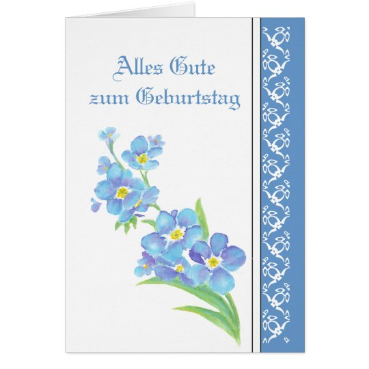 Birthday Forget me nots, Garden Flowers German Card