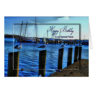 BIRTHDAY- FRIEND - MARINA/SEAGULLS/WATER CARD