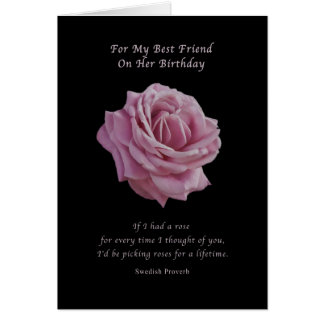 Birthday Friend Pink Rose on Black Greeting Cards