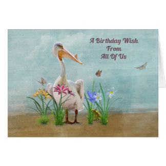 Birthday, From Group , Pelican, Flowers Card