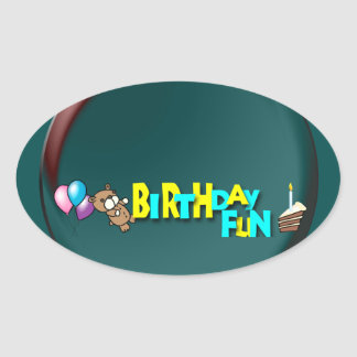 Birthday Fun Oval Stickers