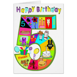 Birthday Game Card Five Year Old