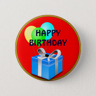 BIRTHDAY gift and balloons 6 Cm Round Badge