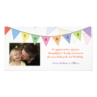 Birthday Gift Thank You Banner Glossy Photocard Personalised Photo Card