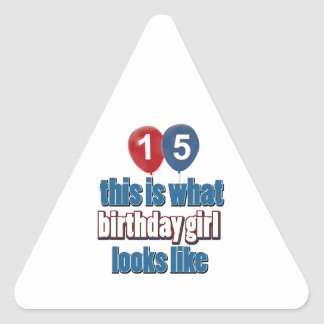 Birthday Girl 15 Triangle Stickers