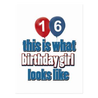 Birthday Girl 16 Postcard