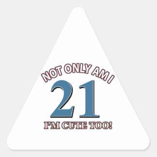 Birthday Girl 21 Triangle Stickers