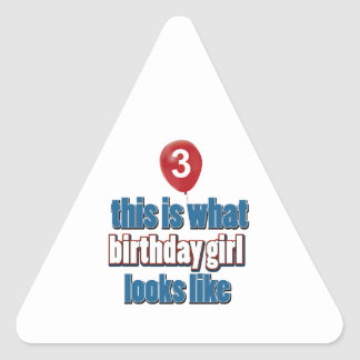 Birthday Girl 3 Triangle Stickers