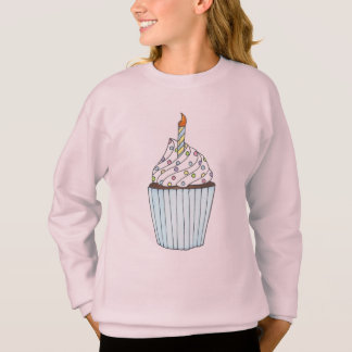 Birthday Girl Cupcake w/ Candle Sweatshirt