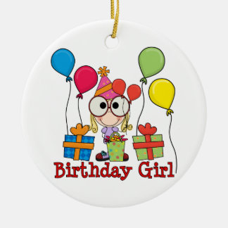 Birthday Girl Double-Sided Ceramic Round Christmas Ornament