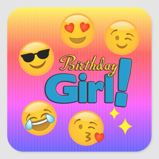 Birthday Girl Emoji Ombre Stripes Square Sticker