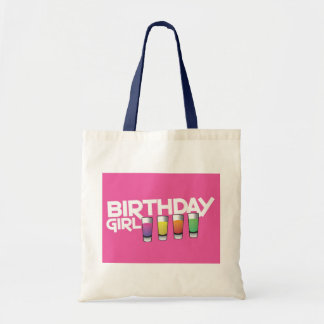 Birthday Girl greeting card in hot pink! Tote Bags