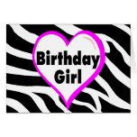 Birthday Girl (Heart Zebra Stripes) Greeting Card