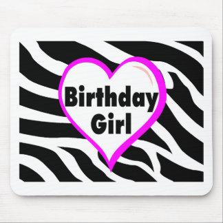 Birthday Girl (Heart Zebra Stripes) Mouse Pad