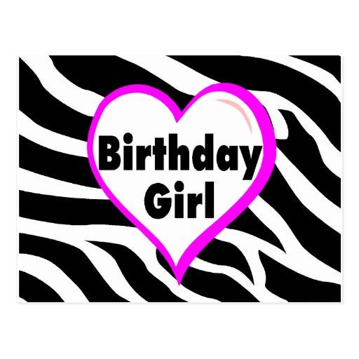 Birthday Girl (Heart Zebra Stripes) Postcard