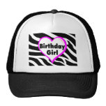 Birthday Girl (Heart Zebra Stripes) Trucker Hat