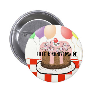 Birthday girl in French Button