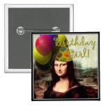 Birthday Girl Mona Lisa 15 Cm Square Badge