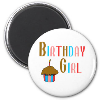 Birthday Girl Multicolored Products 6 Cm Round Magnet