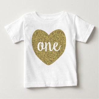 Birthday Girl One Gold Faux Glitter Shirt