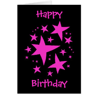 Birthday girl pink and black greeting card