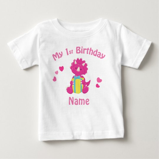 Birthday Girl Pink Dinosaur Personalised Shirt