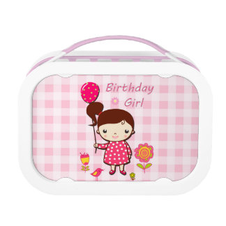 Birthday Girl Pink Pattern Balloon Flower Cartoon Lunchboxes
