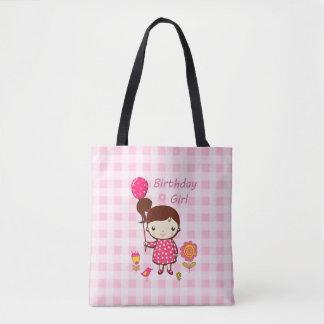 Birthday Girl Pink Pattern Balloon Flower Cartoon Tote Bag
