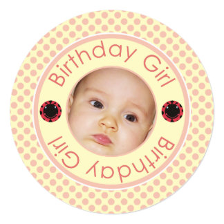 Birthday Girl Pink Polka Dots Photo Frame Invite