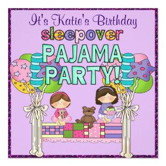 Birthday Girl Sleepover Pajama Party 13 Cm X 13 Cm Square Invitation Card