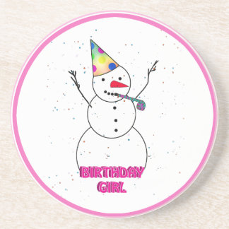 Birthday Girl - Snow Girl with Pink Trim Coasters