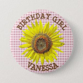 BIRTHDAY GIRL Sunflower BIRTHDAY BUTTON