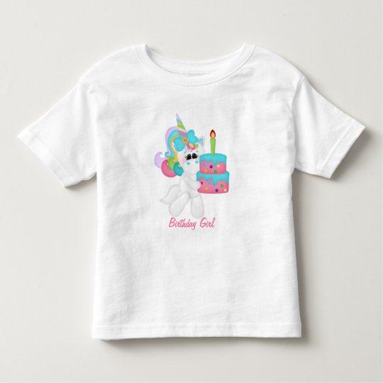 Birthday Girl Unicorn (customisable) Toddler T-Shirt