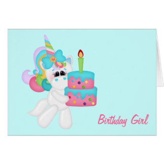 Birthday Girl Unicorn (customizable) Card