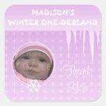 Birthday Girl Winter Onederland Thank you sticker